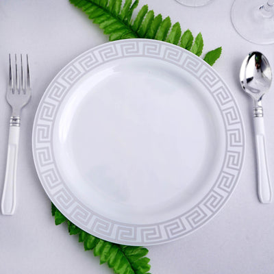 "10 Pack 9"" White Plastic Disposable Dinner Plates with Geometric Design Hot Stamped Silver Rim"
