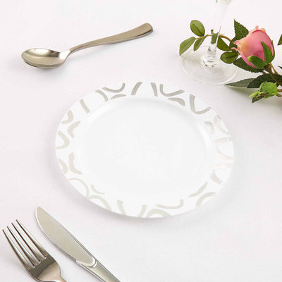 "10 Pack 8"" White Disposable Round Dessert Salad Plates with Silver Abstract Hot Stamped Rim"