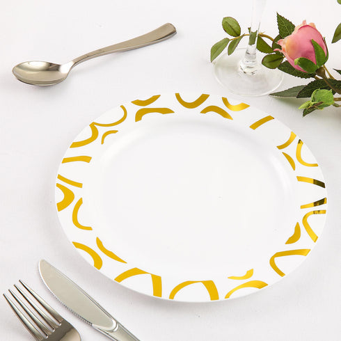 "10 Pack 9"" White Disposable Round Dinner Plates with Gold Abstract Hot Stamped Rim"