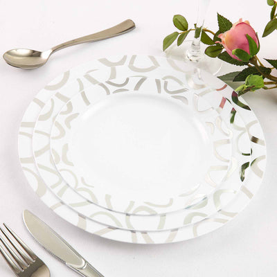 "10 Pack 9"" White Disposable Round Dinner Plates with Silver Abstract Hot Stamped Rim"