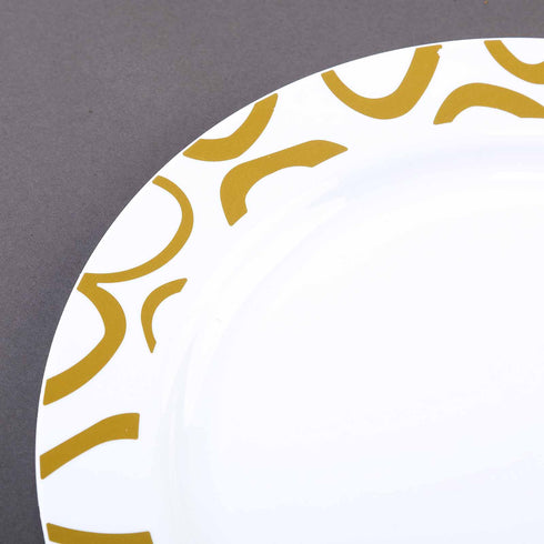 "10 Pack 10"" White Disposable Round Dinner Plates with Gold Abstract Hot Stamped Rim"