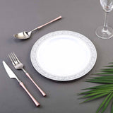 "10 Pack 9"" White Disposable Round Dinner Plate With Silver Floral Rim"