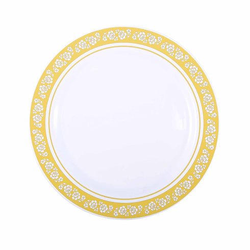 "10 Pack 10"" White Disposable Round Dinner Plate With Gold Floral Rim"