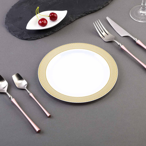 "Set of 10 - 8"" White Round Disposable Plastic Salad Dessert Plates With Gold Diamond Rim"