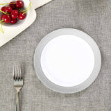 "10 Pack 8"" White Disposable Round Salad Dessert Plate With Silver Checkered Rim"