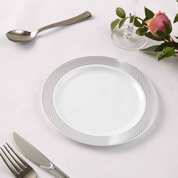 "Set of 10 - 8"" White Round Plastic Dessert Plates, Disposable Salad Plates With Silver Diamond Rim"