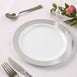 "10 Pack 9"" White Disposable Round Dinner Plate With Silver Checkered Rim"
