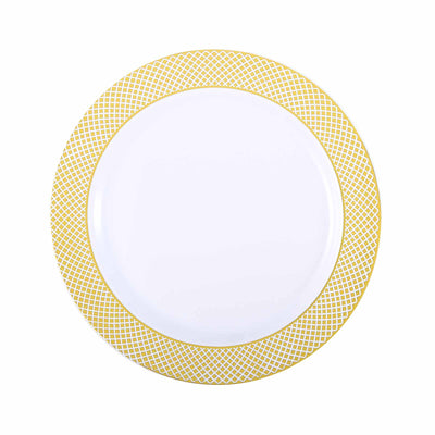 "10 Pack 10"" White Disposable Round Dinner Plate With Gold Checkered Rim"