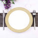 "Set of 10 - 10"" White Round Disposable Plastic Dinner Plates With Gold Diamond Rim"