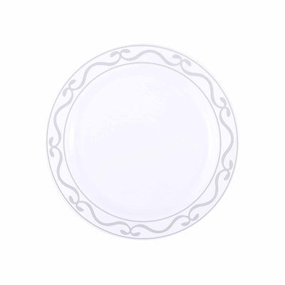 "10 Pack 8"" White Plastic Disposable Round Dessert Salad Plates with Silver Scalloped Hot Stamped Rim"