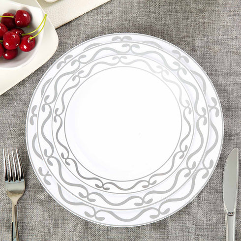 "10 Pack 8"" White Round Disposable Plastic Dessert Salad Plates with Silver Scalloped Hot Stamped Rim"