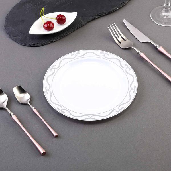 "Set of 10 - 8"" White Round Disposable Plastic Dessert Salad Plates with Silver Scalloped Hot Stamped Rim"