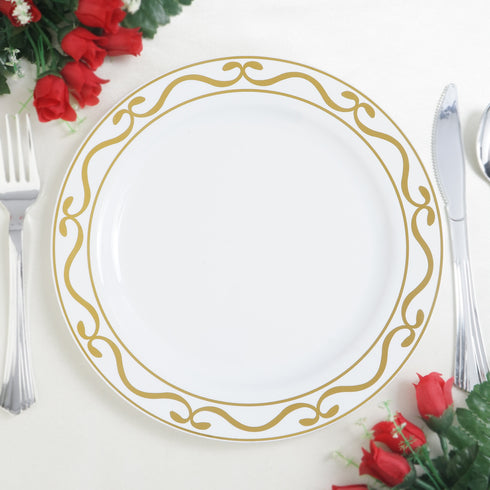 "10 Pack 9"" White Plastic Disposable Round Dinner Plates with Gold Scalloped Design Hot Stamped Rim"