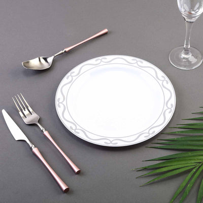 "10 Pack 9"" White Plastic Disposable Dinner Plates with Silver Scalloped Design Hot Stamped Rim"