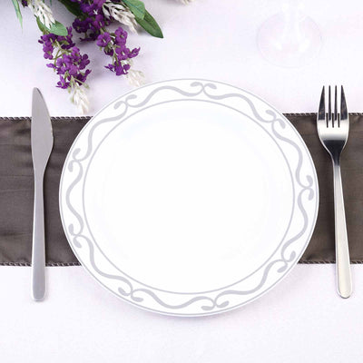 "10 Pack 9"" White Plastic Disposable Round Dinner Plates with Silver Scalloped Design Hot Stamped Rim"