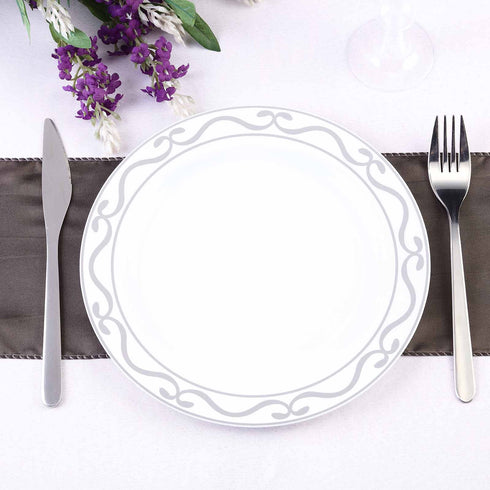 "10 Pack 9"" White Round Disposable Plastic Dinner Plates with Silver Scalloped Design Hot Stamped Rim"