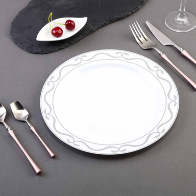 "10 Pack 10"" White Plastic Disposable Dinner Plates with Silver Scalloped Design Hot Stamped Rim"