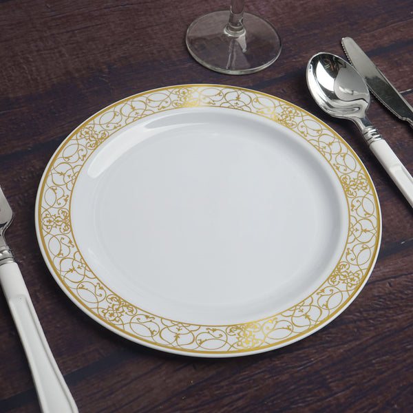 "Set of 10 - 8"" White Round Disposable Plastic Salad Dessert Plates With Heritage Gold Lace Rim"