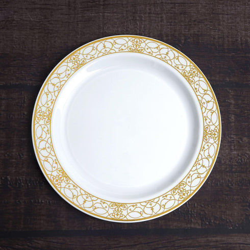 Dessert Plates With Gold Lace Rim, Salad Plate, Plastic Dinnerware