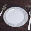 "Set of 10 - 8"" White Round Disposable Plastic Salad Dessert Plates With Heritage Silver Lace Rim"