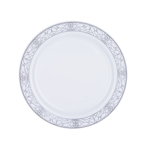 "10 Pack 8"" White Disposable Round Salad Dessert Plate With Heritage Silver Lace Rim"