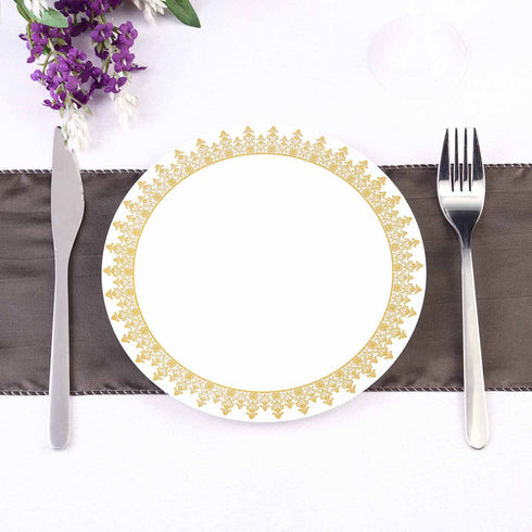 Salad Plate with Gold Ornament Rim, Dessert Plate, Plastic Dinnerware