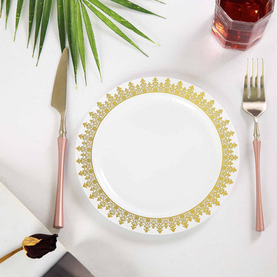 "10 Pack 8"" White Plastic Disposable Round Dessert Salad Plates with Gold Ornament Hot Stamped Rim"