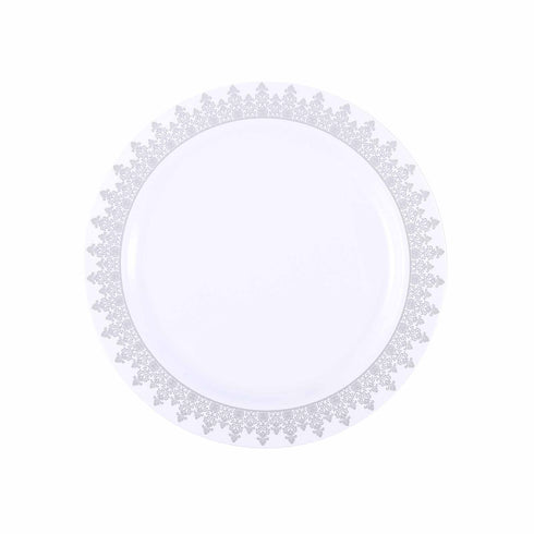 "10 Pack 8"" White Round Disposable Plastic Dessert Salad Plates with Silver Ornament Hot Stamped Rim"