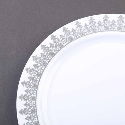 "10 Pack 8"" White Plastic Disposable Round Dessert Salad Plates with Silver Ornament Hot Stamped Rim"
