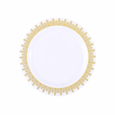"10 Pack 9"" White Plastic Disposable Dinner Plates with Gold Ornament Hot Stamped Rim"