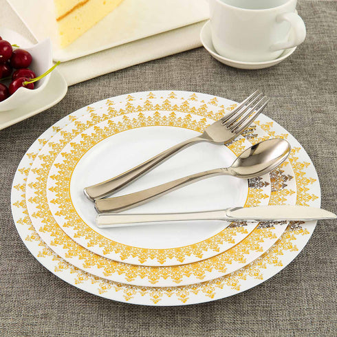 "10 Pack 9"" White Plastic Disposable Round Dinner Plates with Gold Ornament Hot Stamped Rim"