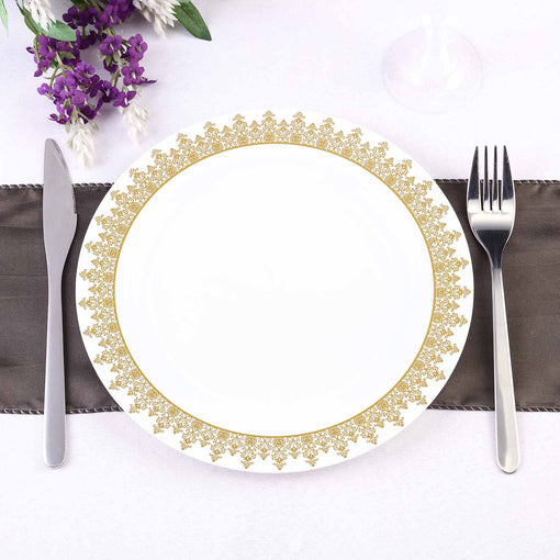 "10 Pack 9"" White Round Disposable Plastic Dinner Plates with Gold Ornament Hot Stamped Rim"