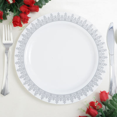 "10 Pack 9"" White Plastic Disposable Dinner Plates with Silver Ornament Hot Stamped Rim"