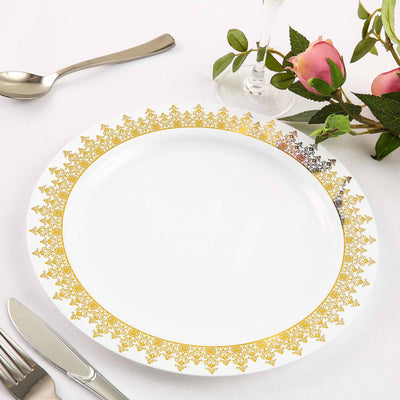 "10 Pack 10"" White Plastic Disposable Dinner Plates with Gold Ornament Hot Stamped Rim"
