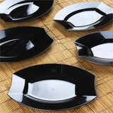 "10 Pack - Black 7.5"" Crescent Oval Shaped Disposable Plate - Partytown Plastics"