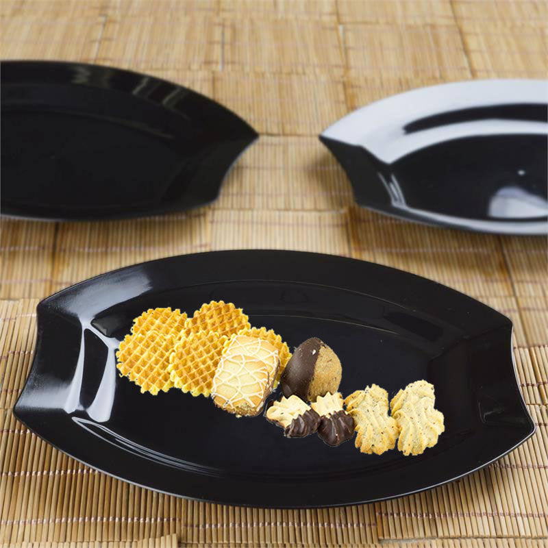 10 Pack 11\  Black Disposable Oval Crescent Rim Serving Plates : disposable serving plates - pezcame.com