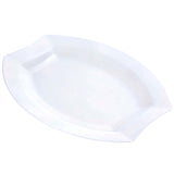 "10 Pack 11"" Clear Disposable Oval Crescent Rim Serving Plates"