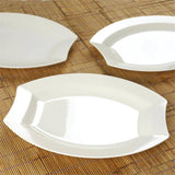 "10 Pack - Ivory 10.5"" Crescent Oval Shaped Disposable Plate - Partytown Plastics"