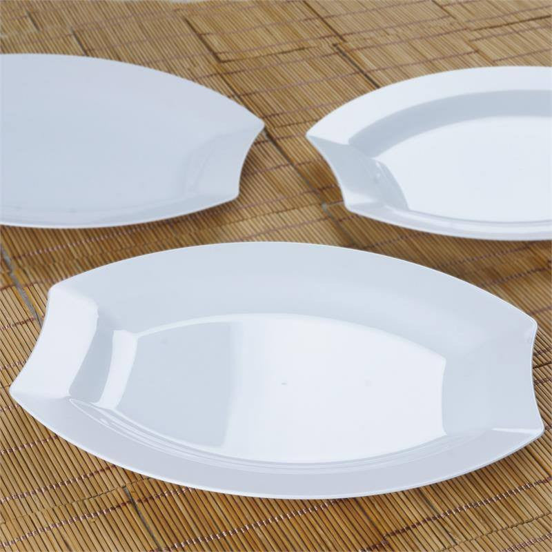 10 Pack 11\  White Disposable Oval Crescent Rim Serving Plates & 10 Pack 11\