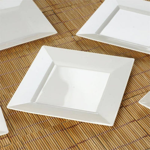 "10 Pack - Ivory 6.5"" Square Disposable Plate - Partytown Plastics"