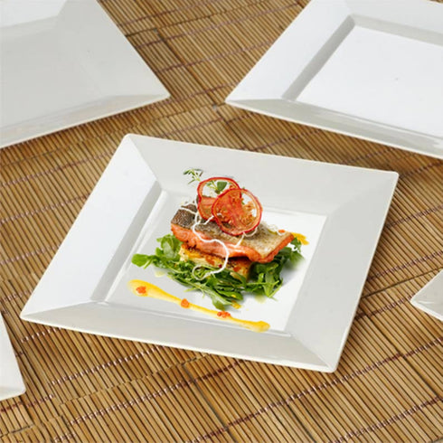 "10 Pack 7"" Ivory Disposable Square Salad Dessert Plates"