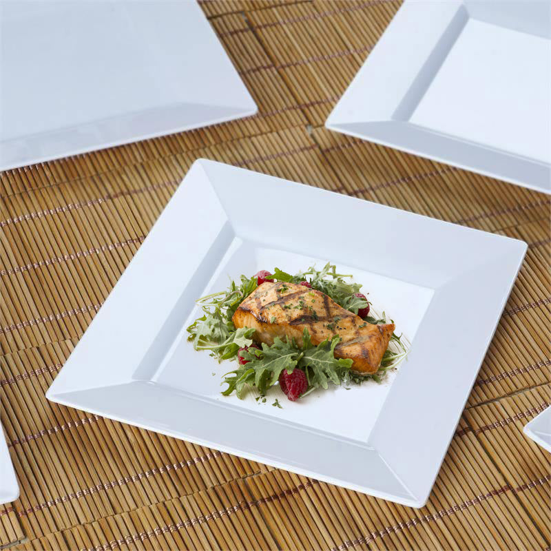 10 Pack 7\  White Disposable Square Salad Dessert Plates & 10 Pack 7\