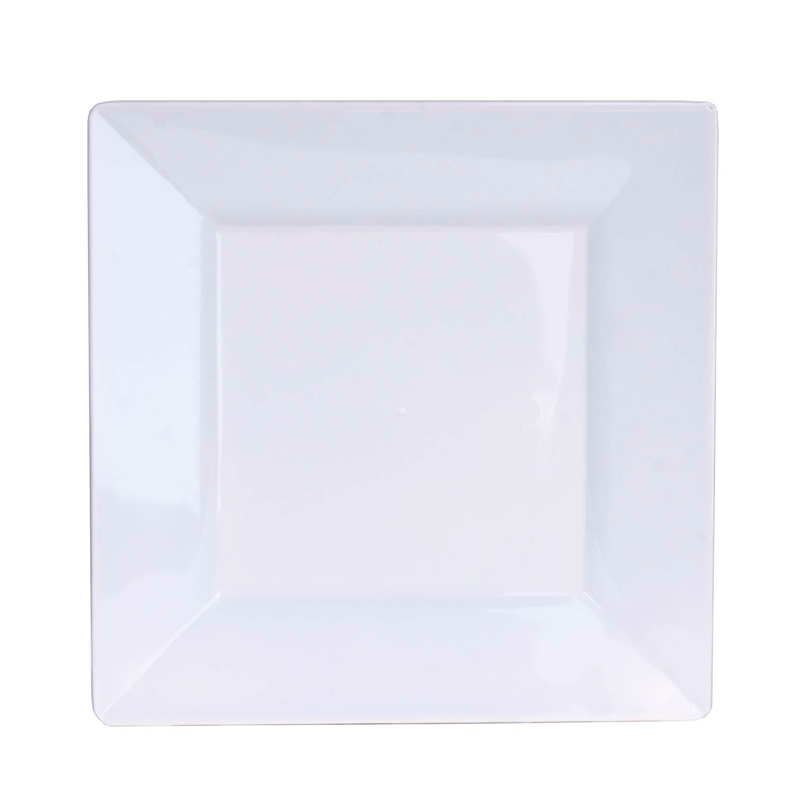 10 Pack 7  White Disposable Square Salad Dessert Plates  sc 1 st  eFavormart.com & 10 Pack 7