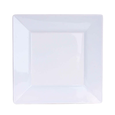 "10 Pack 6"" White Disposable Square Salad Dessert Plates"
