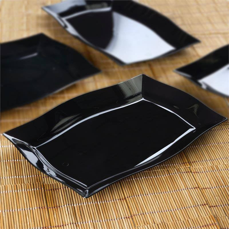 ... 10 Pack - Black 8\  x 11.5\  Rectangle Wave Disposable Plate - Partytown Plastics ... : disposable serving plates - pezcame.com