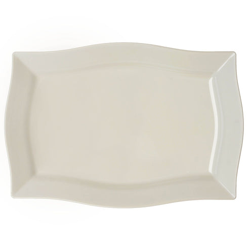 "10 Pack 12"" Ivory Disposable Rectangular Serving Plates With Wave Trimmed Rim"