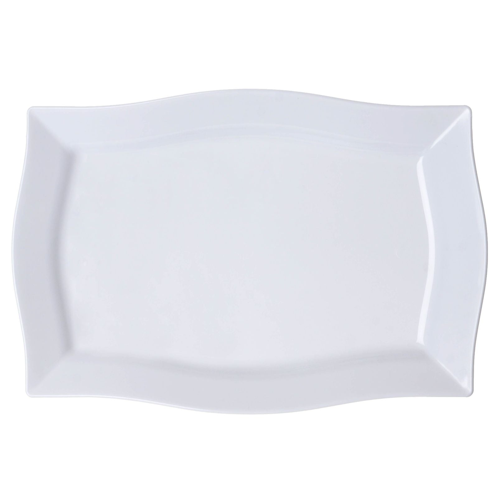 10 Pack 12  White Disposable Rectangular Serving Plates With Wave Trimmed Rim  sc 1 st  eFavormart.com & 10 Pack 12