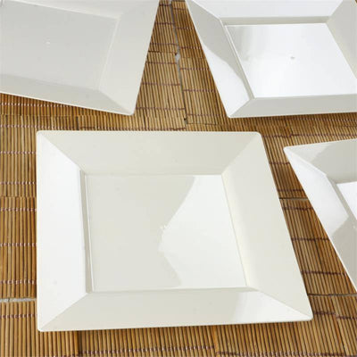 "10 Pack - Ivory 8"" Square Disposable Plate - Partytown Plastics"