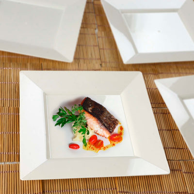 "10 Pack 8"" Ivory Disposable Square Salad Dessert Plates"