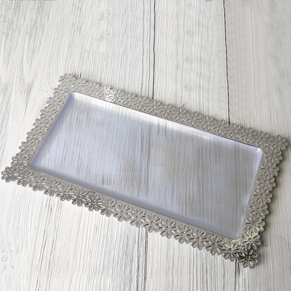 "4 Pack | 16"" Clear Disposable Plastic Serving Tray With Silver Floral Edge"